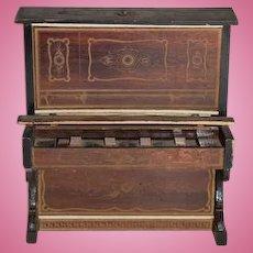 Old Ornate Wood Doll Miniature Piano Fancy Dollhouse
