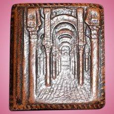 Old Miniature Leather Faux Book Mezquita Cordova MatchBox Cover Dollhouse