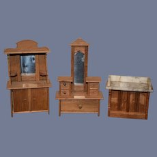 Old Doll Miniature Wood Dollhouse Set Marble Top Wood Three Pieces