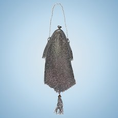 Old Doll Sterling Silver Mesh Purse w/ Sash Fashion Doll Size