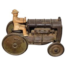 Old Cast Iron Miniature Tractor W/ Driver Man Removable W&K Signed