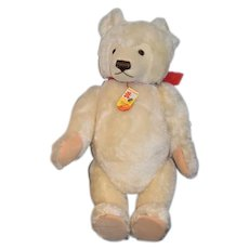 Large White Mohair Steiff Teddy Bear Jointed W/ Button Tags and String Tag