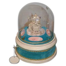 Wonderful Old Miniature Bisque Doll in Glass Dome Diorama Wind Up Mechanical Nursery W/ Miniature WORKS! Dollhouse