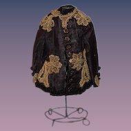 Antique Doll WONDERFUL Beaded Velvet Ornate Jacket Top