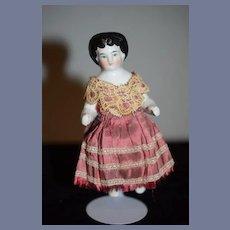 Antique Doll China Head Frozen Charlotte Dressed Wonderful Dollhouse Miniature Cabinet