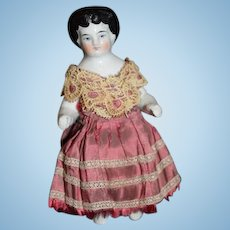 Antique Doll China Head Frozen Charlotte Dressed Wonderful Dollhouse Miniature Cabinet
