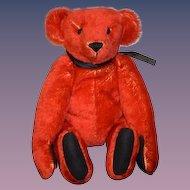 "Artist Teddy Bear Mohair Red LuLu Bears ""TED"" By Luann Bowen"