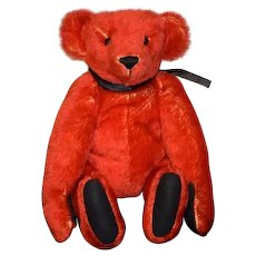 "Artist Teddy Bear Mohair Red LuLu Bears ""TED"" By Luann Bowen"