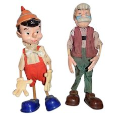 Vintage MARX Pinocchio and Geppetto  Dolls Figures Doll Walt Disney