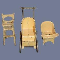 Wonderful Old Doll Cast Iron Doll Stroller Potty High Chair Miniature Dollhouse Kilgore Arcade