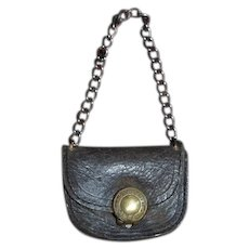 Old Leather Miniature Doll Purse W/ Chain Sweet