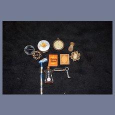 Old Doll Miniature Accessories for Fashion Doll Brooch Perfume Watch Enamel Box Pipe Key