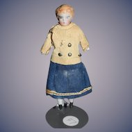 Antique Doll China Head Dollhouse Miniature Original Factory Clothes