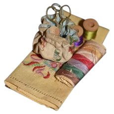 Old Doll Miniature Sewing Kit and Ebroidery Cloth Thimbles Spools Scissors Bag