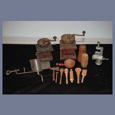 Old Miniature Doll Coffee Grinder Wood & Metal W/ Wood and Metal Tools and Kitchen Items for Dollhouse or Store