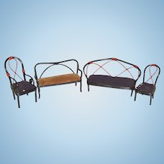 Vintage Wood Wicker Rattan Doll Miniature Furniture Sofa Chairs Dollhouse