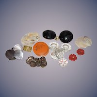 Old Button Lot Bakelite Jet Black Glass Crystal