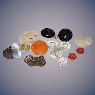 Old Button Lot Bakelite Jet Black Glass Crystal
