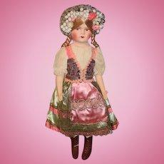 Old Doll Gorgeous Original Clothing Celluloid Head Cloth Doll