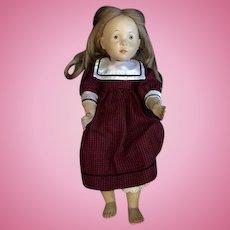 """Vintage Doll Carved Wood Cloth Body """" Erika"""" DOLFI  Sylvia Natterer Artist Doll"""