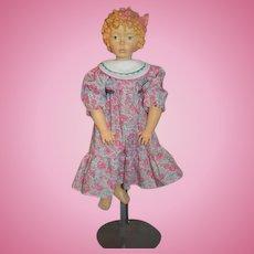 """Vintage Wood Carved Doll DOLFI  """"Monica"""" ADO SANTINI Carved Hair Wonderful Italian All wood"""