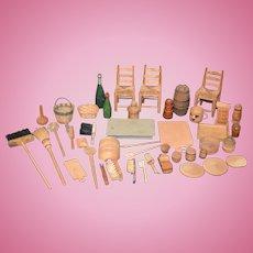 Wonderful Doll Dollhouse Miniature Wood Lot Doll Store  HUGE Lot Chairs Kitchen Clean Barrels