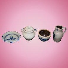 Vintage Doll Miniature Stoneware Blue Jug Bowl Platter Lidded Urn Dollhouse Pottery