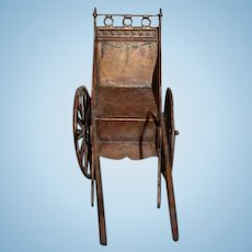 Wonderful Old Pram Carriage Metal Doll Miniature Dollhouse Buggy