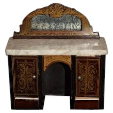Antique Doll Marble Top Miniature Wood Sideboard Cabinet W/ Mirror Ornate Dollhouse Waltershausen