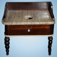 Antique Fancy Doll Miniature Wood Marble Commode Table Cabinet Dollhouse