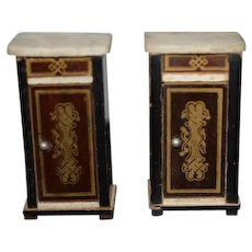 Antique Doll Miniature Marble Top Side Tables Night Stands Dollhouse