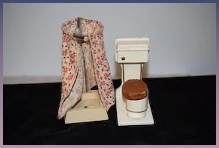 Vintage Doll Miniature Wood Shower W Shower Curtain And Toilet