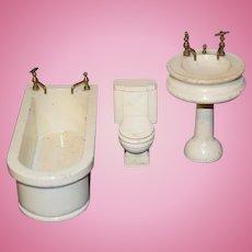 Wonderful Vintage Doll Bathroom Set Wood Bath Tub Toilet Sink Dollhouse