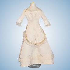 Wonderful Doll Hand Made Dress w/ Train Flowers and Lace For Fashion Doll