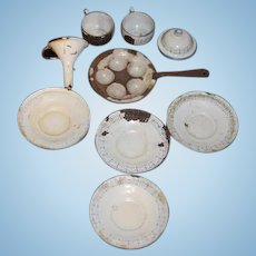 Old Enamelware Lot Miniature Doll Size Funnel Egg Frying Pan Dishes & More