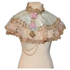 Vintage Sweet Doll Cape Hand Made Lace Flowers Pearls