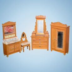 Old Doll Furniture Wood and Marble Top Miniature Dollhouse Dresser Wardrobe Chest Vanity