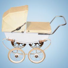 Old Au NAIN BLEU French Doll Pram Carriage Stroller Great Size! Buggy Doucet