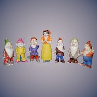 Vintage Snow White & Seven Dwarfs Bisque Doll Figurine Set Walt Disney