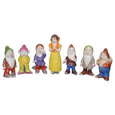 Vintage Snow White & Seven Dwarfs Bisque Doll Figurine Set Walt Disney