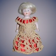 Antique Doll All Bisque Jointed Miniature Dollhouse