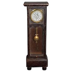 Old Doll Grandfather Clock Wood With Glass Front Miniature Dollhouse W/ Pendulum