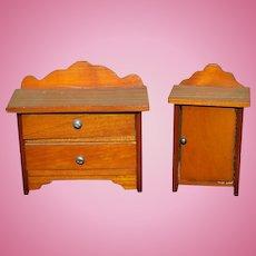 Old Doll Miniature Wood Dresser Cabinet Dollhouse Sweet