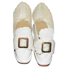 Sweet Doll Artist Made Leather Shoes with Bow and Buckle Soft White Leather