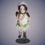 Old Doll All Bisque Miniature Dollhouse Jointed Glass Eyes