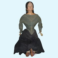 """Antique Doll Papier Mache 1840's Early German Molded Hair Style W/ Ears Exposed 28 1/2"""" Tall"""