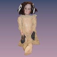 """Antique Doll Big Beautiful Kestner Bisque Doll 31"""" Tall Gorgeous Dress Gorgeous Lace Dress"""