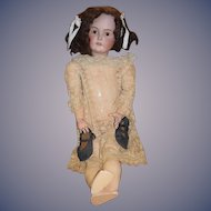 "Antique Doll Big Beautiful Kestner Bisque Doll 31"" Tall Gorgeous Dress Gorgeous Lace Dress"