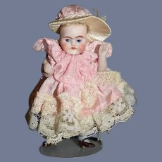 Antique Doll Miniature All Bisque Jointed Dollhouse Doll FAB Dress & Hat