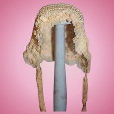 Wonderful Old Doll Bonnet Hat W/ Lace Trim